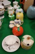 A collection of eight various preserve pots including two Radford, one Bristol, three Carlton ware,