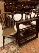A 19th Century Scottish stained beech framed three tier plate rack,