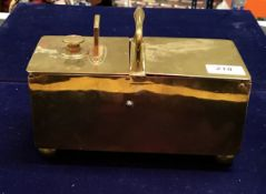 A Victorian brass money bank of rectangular form with single handle and No'.
