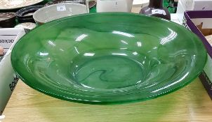 An early to mid 20th Century jade green glass fruit bowl,