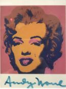 """AFTER ANDY WARHOL """"Marilyn"""" a portrait study, colour print postcard,"""