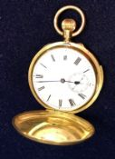 An 18 carat gold cased full hunter pocket watch, the key less movement with repeat by J W Benson,