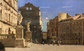 "DAVID SAWYER ""Santa Lucia alla badia Sicily, Piazza de duomo"" oil on canvas,"
