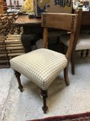 A set of five late Victorian bar back dining chairs in the Arts & Crafts style with simulated