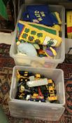 A box of various die cast and other models including Dinky Toys Spectrum Pursuit vehicle (104),