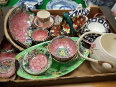 Two boxes containing a collection of various Mailing luster ware pottery,