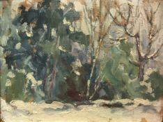 "20TH CENTURY CONTINENTAL SCHOOL ""Winter woodland landscape"" oil on board,"