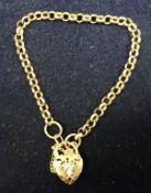 A 9 carat gold Belcher link bracelet set with stone set loveheart padlock,