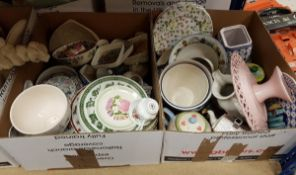 Four boxes of assorted china wares to include Cloverleaf wild flowers,