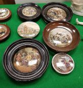 "A collection of six Victorian pot lids including ""Lend a Bite"", ""Hide and Seek"","