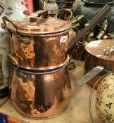 """A Victorian copper steamer pan set in two sections with lid, bearing initials """"C.W."""