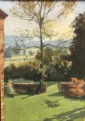 """CHRISTOPHER AGGS """"Autumn afternoon"""" study of a garden, oil on canvas, signed lower right,"""