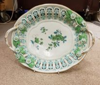 A Worcester First Period Dr Wall pierced oval dish with floral encrusted decoration to the two