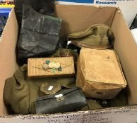 A collection of various militaria including leather cased travelling field surgeon's kit,