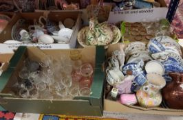 Four boxes of assorted china wares to include decorative plates, teawares,