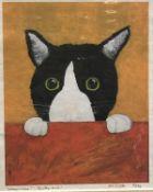 "AFTER ANGELA DIGGLE ""Where's mine? - Corky said!"" study of a cat, colour print,"