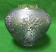 "A Lalique ""Esterel"" vase, green / blue tinted with intaglio leaves motif,"