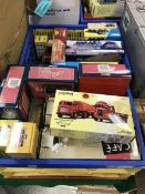 Two crates containing twenty-one boxed Corgi and other haulage vehicles including Cafe Connection,