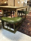 A late 19th Century club fender with green leather upholstered seat CONDITION REPORTS