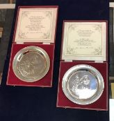 "Two silver commemorative plates for ""The 75th Anniversary of the Diamond Jubilee of Queen Victoria"","
