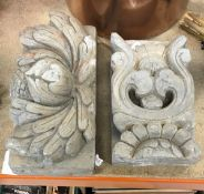 Two Chinese Jin Dynasty style grey composition stone or earthenware wall tiles of