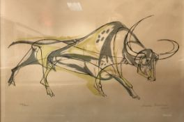 """AFTER WALTER BODMER (1903-1973) """"Bull"""" colour lithograph, limited edition 132/200,"""