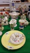 A collection of various pottery and porcelain wares to include Coalport floral encrusted vase,