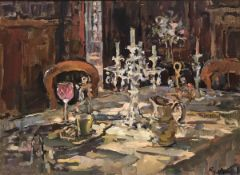"""SUSAN RYDER """"Sunlight and candelabra"""" an interior scene, oil on canvas, signed lower right,"""
