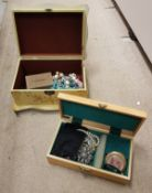 Two jewellery boxes containing various costume jewellery to include beaded necklaces,