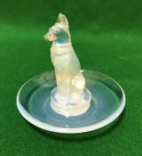 A Lalique opalescent glass pin dish with central fox decoration