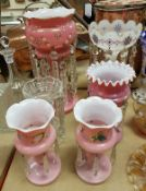 A collection of various glass lustres with painted enamel decoration