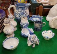 A collection of various 19th Century and other blue and white wares to include Leeds Pottery