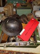Two boxes of sundry items to include various plated wares, first aid bag, vintage skiis,