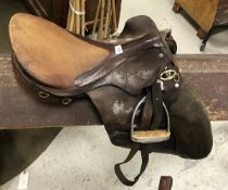 "An Old English saddle, seat approx 17"","