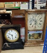 A Victorian painted metal mantel clock together with an American wall clock and a box of assorted