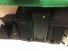 A collection of speakers to include Wharfedale, Phillips,