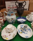 A collection of china wares to include a Herend floral and insect decorated oval dish,