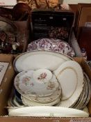 "Three boxes of assorted sundry china, glass, etc, together with Aynsley ""Arundel"" dinner plates,"