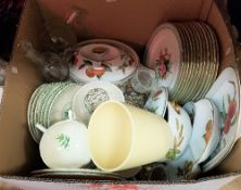 "A box of assorted china to include Gien part dinner wares, Royal Worcester ""Evesham"" china,"