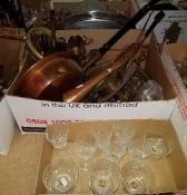 A box of assorted copper and brass wares to include a warming pan, brass gavel,