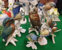 "Five various Karl Ens bird figures together with a Goebel bird figure ""blue titmouse"" and another"