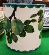 "A Wemyss Pottery ""Greengage"" decorated preserve pot,"