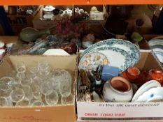 Four boxes of assorted decorative china and glass wares