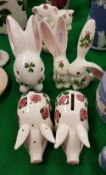 "A collection of five pieces of Plichta Pottery including ""Pig Clover"" money box,"