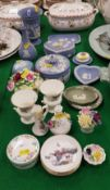 A collection of Wedgwood Jasper ware trinket dishes, pin dishes, etc, various Coalport,