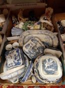 Two boxes of assorted china wares to include various blue and white transfer decorated plates,
