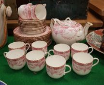A circa 1900 Wedgwood transfer decorated tea set,