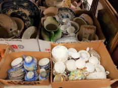 "Four boxes of assorted decorative china to include a Richmond ""Blue Rock"" part tea service,"