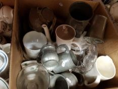 Three boxes of assorted decorative china and other wares to include Poole,