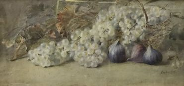 """C DE LAUSAM """"Still life with figs and gr"""